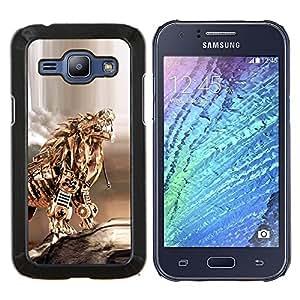 LECELL--Funda protectora / Cubierta / Piel For Samsung Galaxy J1 J100 -- Gold Dragon Poker tigre del metal Escultura --