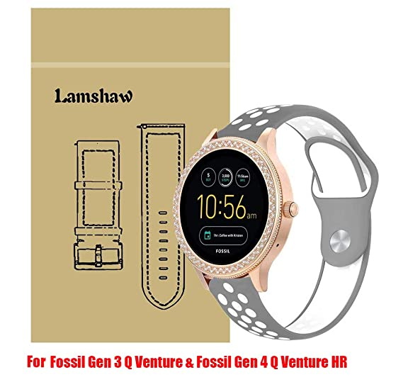for Fossil Q Venture Band, Lamshaw Silicone Soft Band with Ventilation Holes Replacement Straps for GEN 3 SMARTWATCH/Fossil Gen 4 Q Venture HR - Q ...