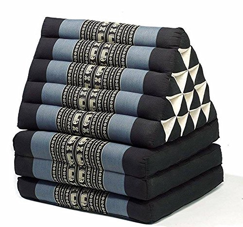 Jumbo Size Thai Handmade Foldout Triangle Thai Cushion, 73x18x3 inches, Black Blue Kapok Fabric, Brown Cream, Premium Double Stitched, Products From Thailand by WADSUWAN SHOP