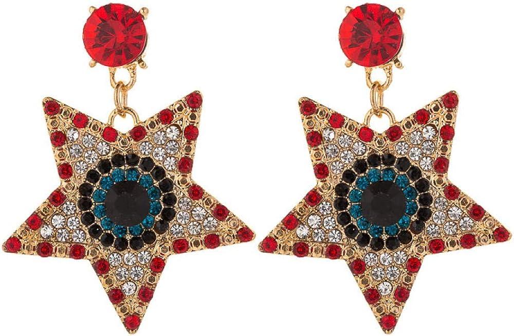 Pendientes Para Niña Pendientes Color Geométrico Estrella De Cinco Puntas Diamante Retro Aleación Colgante Pendientes Femeninos Accesorios
