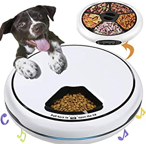 Automatic Pet Feeder Food Dispenser for Dogs, Cats & Small Animals – Features Distribution Alarms, Portion Control & Voice Recording – Timer Programmable Up to 4 Meals a Day