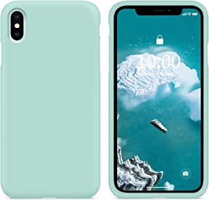 SURPHY Silicone Case Compatible with iPhone Xs Max Case, Soft Liquid Silicone Shockproof Phone Case (with Microfiber Lining) Compatible with iPhone Xs Max (2018) 6.5 inches (Mint Green)