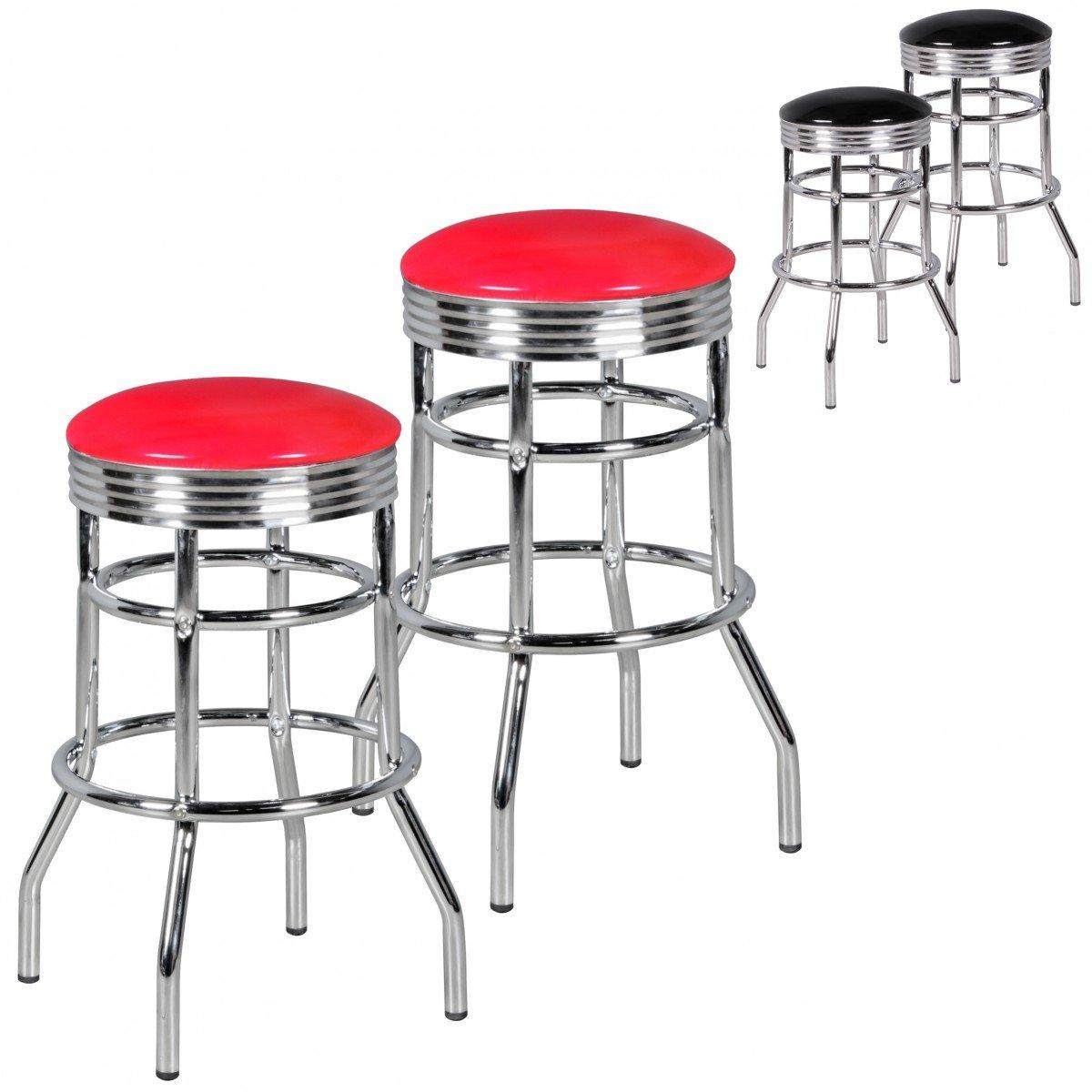 FineBuy 2er Set Barhocker King American Diner Retro Design Kunstleder Metall in rot   Design Barstuhl Retro 50er Jahre 2 Stück   Tresenhocker Sitzhöhe 71 cm