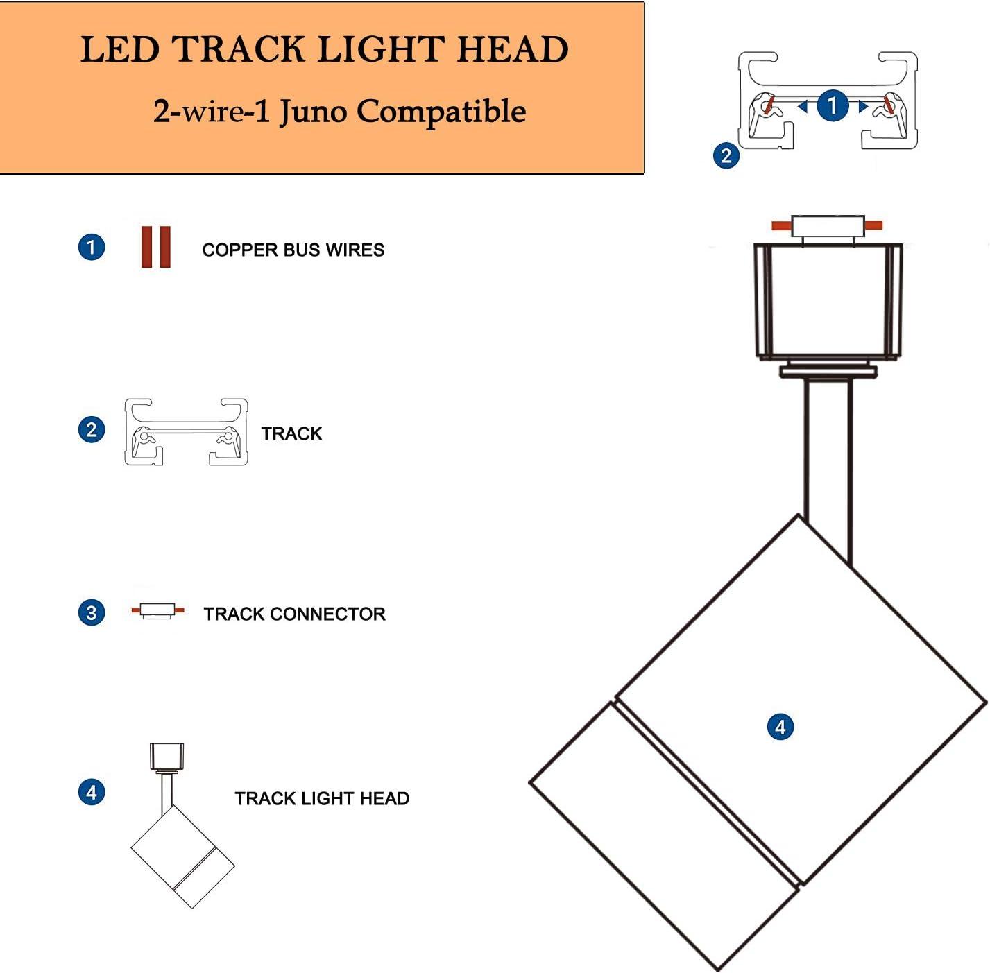 [SCHEMATICS_4JK]  4-Pack LED Cylinder Track Lighting Heads for 2-Wire-1 Compatible Juno Track  - FLSNT 12W (75W Equiv.) Dimmable 24° LED Spotlight Track Light Heads,  CRI90, 800LM, 3000K Soft White, Black - - Amazon.com | Juno Transformer Wiring Diagram |  | Amazon.com