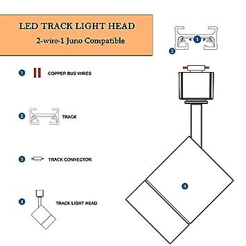 [ZHKZ_3066]  LED Cylinder Track Lighting Heads for 2-Wire-1 Compatible Juno Track -  FLSNT 12W (75W Equiv.) Dimmable 24° Spotlight LED Track Light Head, CRI90,  800LM, 3000K Soft White, White - - Amazon.com | Juno Transformer Wiring Diagram |  | Amazon.com