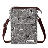 Cell Phone Purse Wallet Canvas Leaf Pattern Small Crossbody Purse Bags For Women(Coffee)