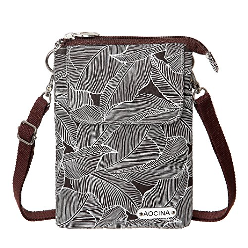 Bags For Coffee Leaf Pattern Purse Cell Women Phone Crossbody Wallet Canvas AOCINA Small Purse wSPOvXg