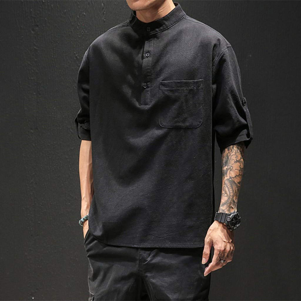 Orfilaly Men Casual Loose T-Shirt Solid Cotton Line Breathable Short Sleeve Top Blouse with Pocket for Beach Daily Work