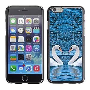 Apple (4.7 inches!!!) iPhone 6 , Radio-Star - Cáscara Funda Case Caso De Plástico (Picturesque Two Swans Heart)