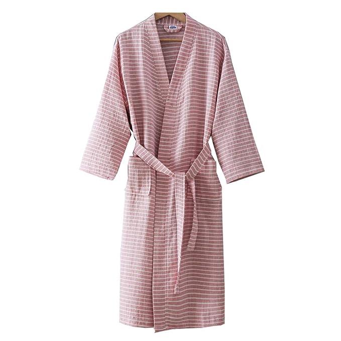 Vestido de algodón de Punto para Mujer Kimono japonés Pijama ...