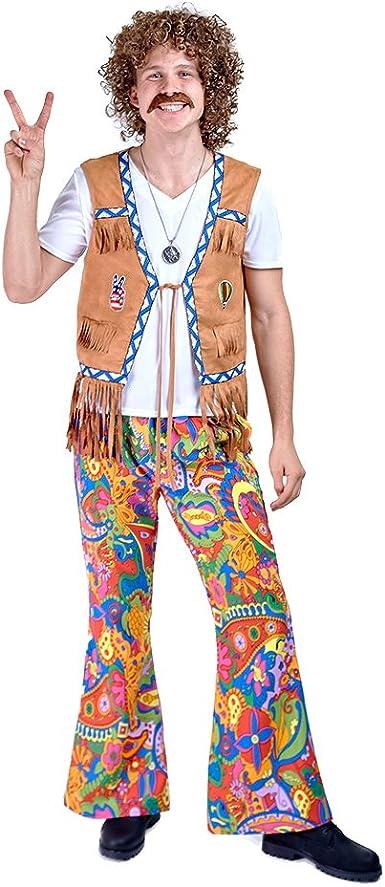 Charm Rainbow Disfraz de Hippie Pantalones Años 60s para Hombre ...
