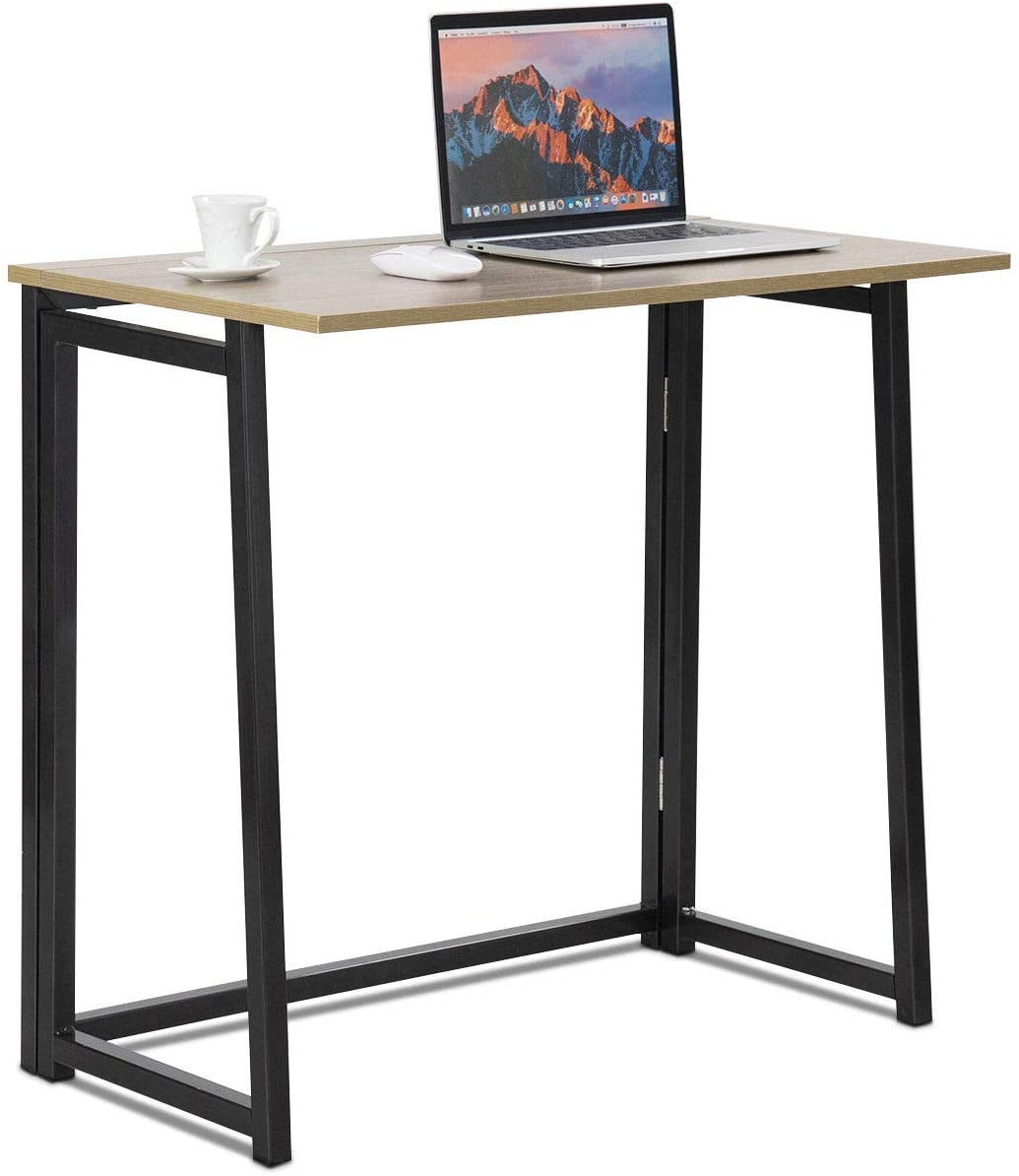 Tangkula Folding Table Small Foldable Computer Desk Home Office Laptop Table Writing Desk Compact Study Reading Table For Small Space Space Saving Office Table Natural Amazon Ca Home Kitchen