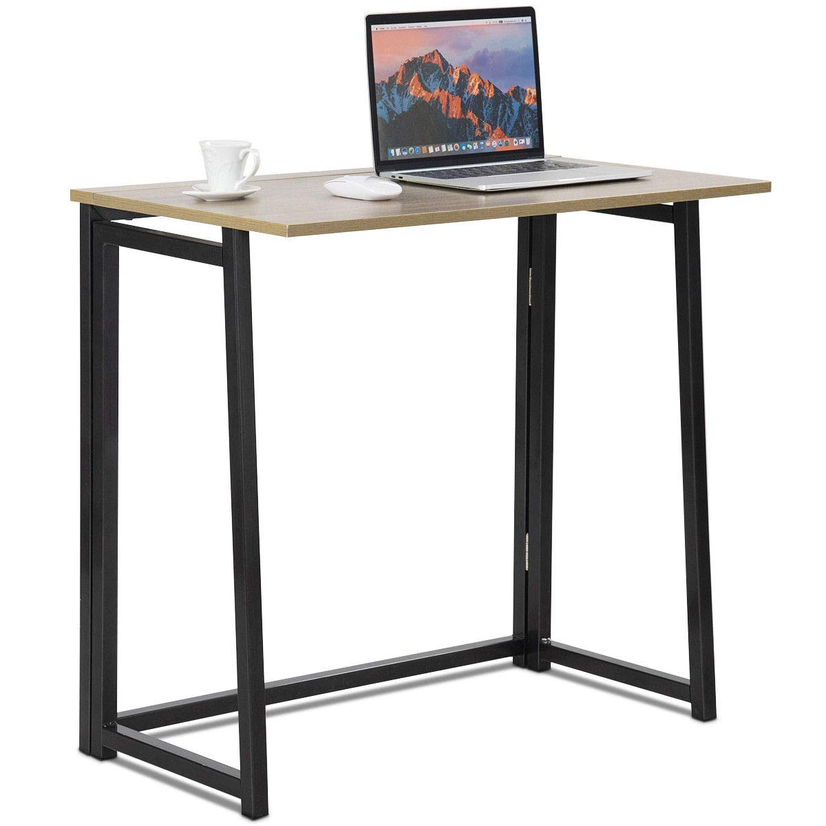 Tangkula Folding Table, Small Foldable Computer Desk, Home Office Laptop Table Writing Desk, Compact Study Reading Table for Small Space, Space Saving Office Table (Natural and Black)