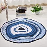 Tuscom Anti-Skid Rock Floor Rug Round Carpet Annual Ring Printing Mat,for Living Room Den Bedroom Decorative Carpet,Baby Crawling Mat(8 Colors) (Blue, M)