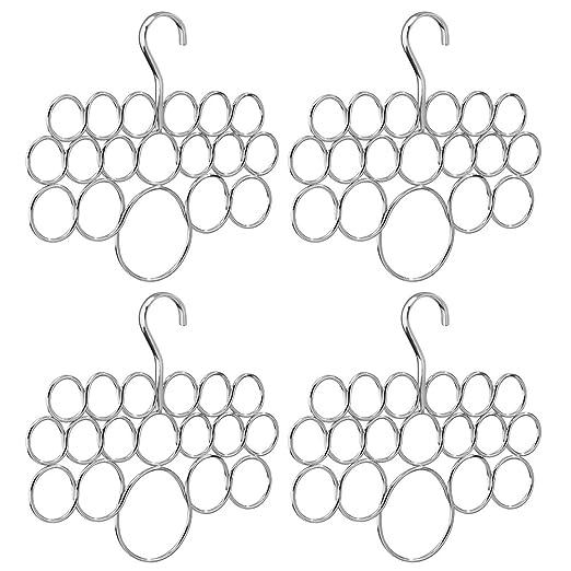 InterDesign Axis Organizador de pañuelos con 18 Anillos, Perchero de Metal para pañuelos, Corbatas, etc, Juego de 4 colgadores de Ropa, Plateado