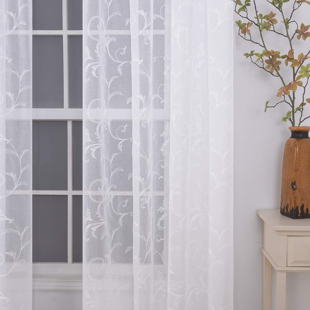 Floral Embroidery Sheer Curtains White 84 Inch Length, Rod Pocket Vintage Voile Drapes for Living Room, Bedroom,Semi Crinkle Curtain Panels for Patio, Villa, Set of 2, 52