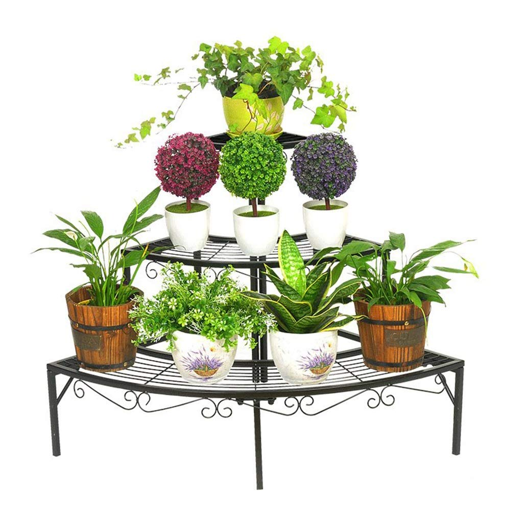 BENCONO Flower Stand Three-Layer Metal Flower Stand Indoor and Outdoor Display Stand Round Plant Corner Frame Black Size: 33.07x23.62x23.62inch Only for Sale Flower Stand, No Plant by BENCONO