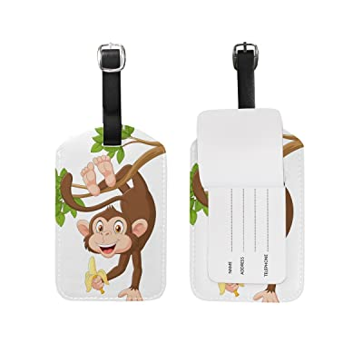 best Cooper girl Cartoon Happy Monkey Luggage Tag Travel ID Label Leather for Baggage Suitcase 1 Piece