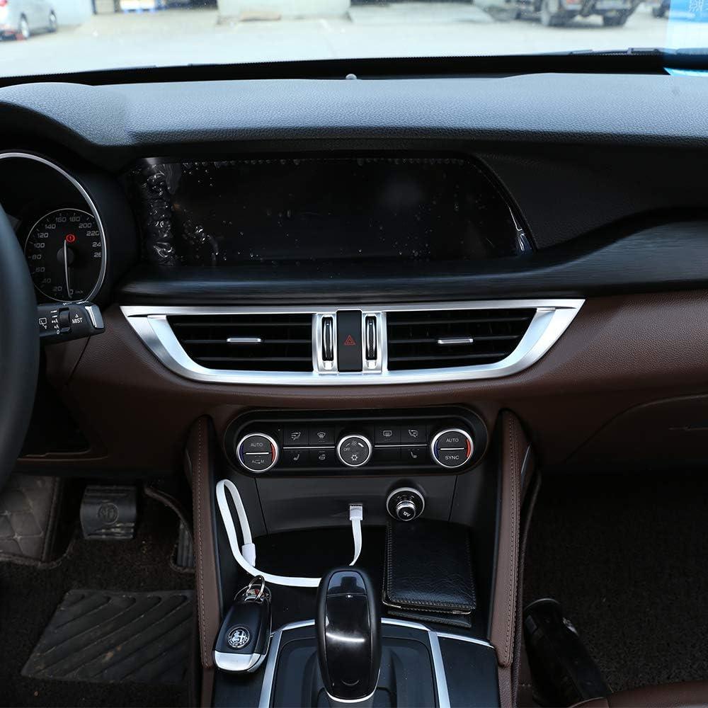LLKUANG ABS Matt Center Console AC Outlet Frame Trim for Alfa Romeo Stelvio 2017 2018 2019