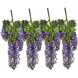 supla 12 Piece Artificial White Silk Faux Wisteria Vine Ratta Silk Hanging String Flower Fake Flower Arrangements Bridal Home Diy Floor Garden Office Wedding Décor, Purple