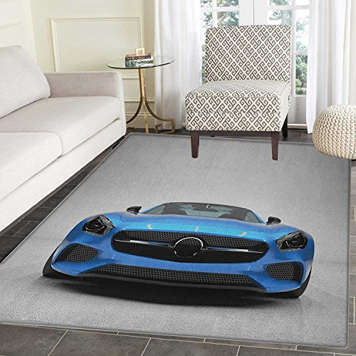 (Teen Room Area Silky Smooth Rugs Modern Blue Sports Car Power Prestige Speed Fast Vehicle Automobile Image Floor Mat Pattern 4'x6' Blue Black Grey)