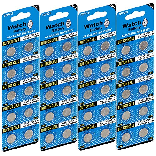 JOOBEF 40 Pack LR44 AG13 357 303 SR44 1.5V Battery Alkaline Battery Button Cell for Laser Pointer Watch Toy (Watch Laser Pointer)