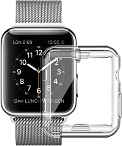 Full TPU Clear Case by Tech Express for Apple Watch Series 1, 2 & 3 W/Screen Protector Built in Corner Protection Bumper Slim Skin [iWatch Cover] Protective Case Shockproof Thin Accessories (42mm)