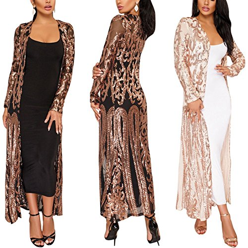 PROMLINK Women's Sequins Open Front Long Sleeve Club Cardigan for Evening Prom by PROMLINK