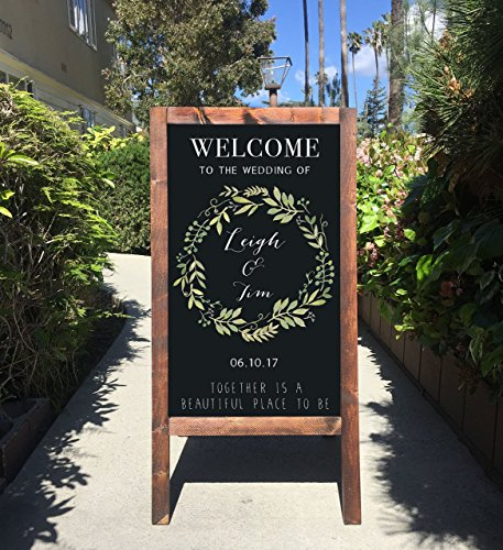 Rustic Wedding Sign - Welcome To Our Wedding Rustic Chalkboard Wooden Sandwich Board by The Heart And Hand