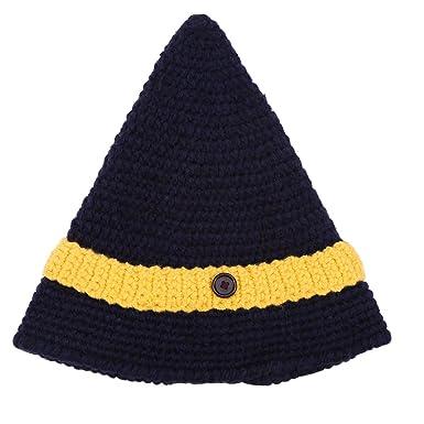FTVOGUE Femme Bonnet Tricot Chapeau Pointu Style Sorcier Automne Hiver  Chaud(Navy Bleu + Jaune) 8fb8575262d