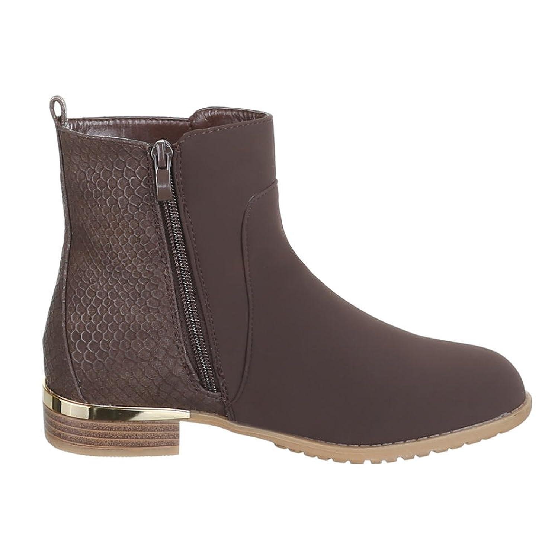 Ital-Design Damen Schuhe, B2917-KB, Stiefeletten, Gefütterte Boots,  Synthetik in Hochwertiger Velourlederoptik und Lederoptik, Braun, Gr 41:  Amazon.de: ...