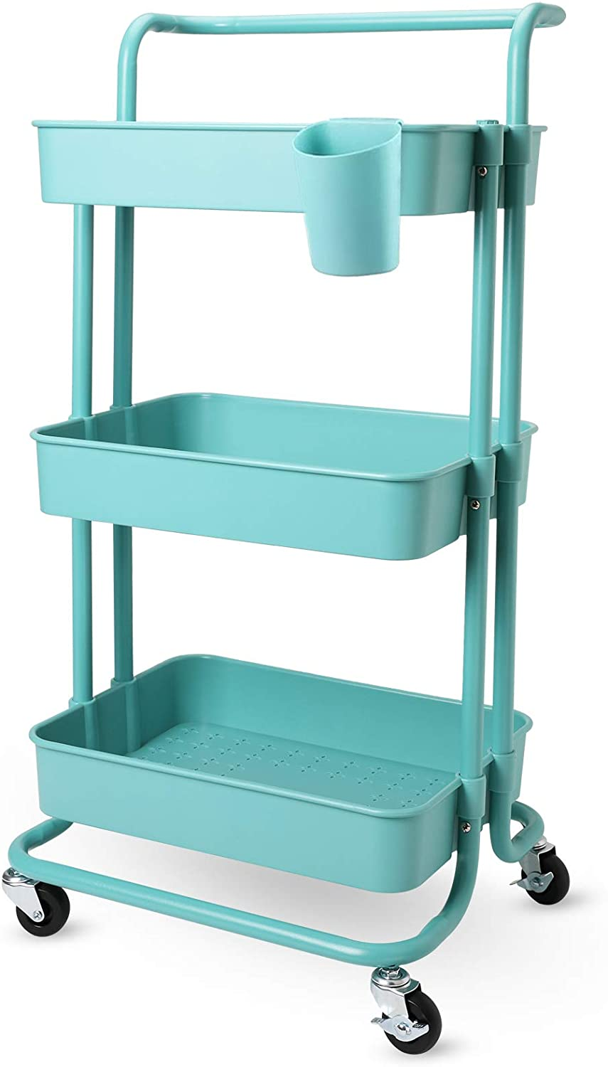 JAKAGO 3-Tier Rolling Utility Cart Storage Shelf Rack with Wheels and Mesh Baskets Organizer Cart Multifunction Rolling Storage Trolley Service Cart for Bathroom, Kitchen, Office, Laundry Room (Teal)