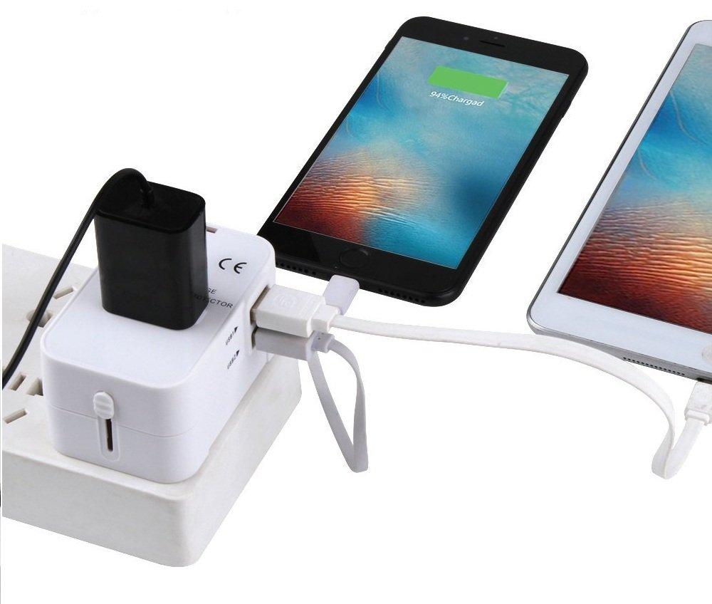 Adaptador Enchufe USB de Viaje Universal Enchufe Adaptador Internacional con 4 Puertos USB para US EU UK AU Acerca de 150 Pa/íses y Seguridad de Fusibles para Tableta PC,Smartphones,C/ámaras Digitales