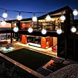 Solar String Light 8 MODES 20 ft 30-LED Globe Solar Powered Christmas Outdoor Lights Fairy Crystal Ball Waterproof Lights for Home Patio Lawn Garden Wedding Party(White)