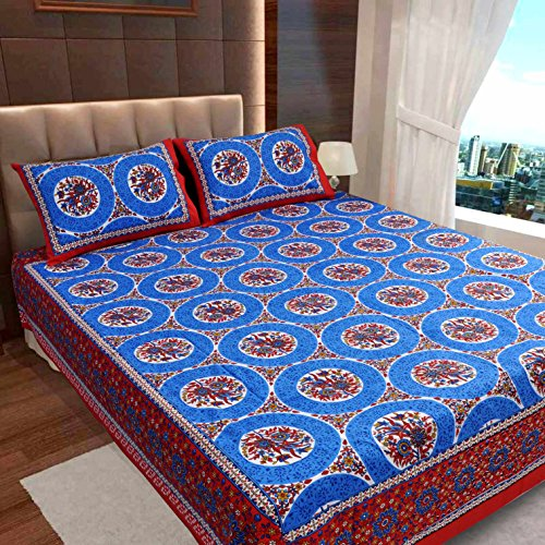 Ahmedabad Cotton Basics Jaipuri Collection 136 TC Cotton Double Bedsheet with 2 Pillow Covers
