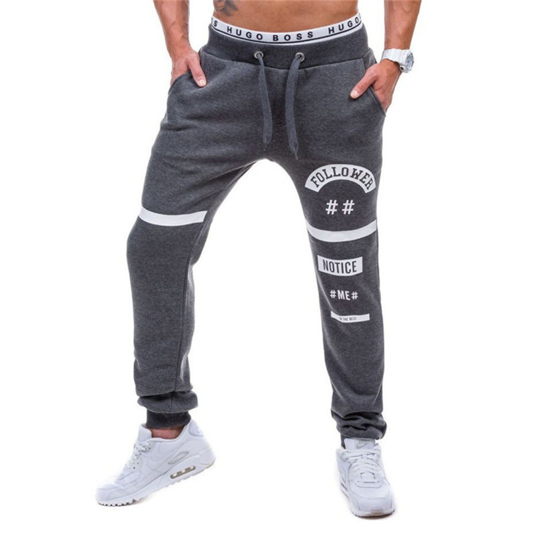 Followers Pants Simple Style Casual Men's Sweatpants drak gray M