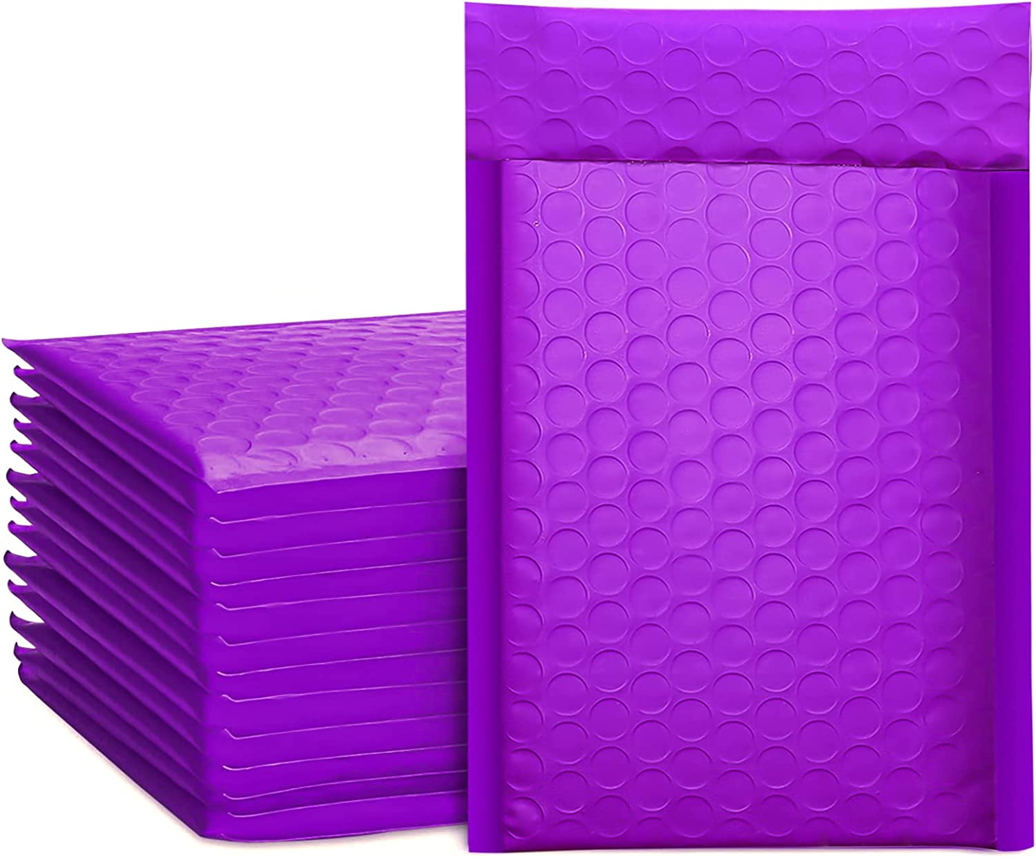Metronic 50Pcs Poly Bubble Mailers, 4X8 Inch Padded Envelopes Bulk #000, Bubble Lined Wrap Polymailer Bags for Shipping/ Packaging/ Mailing Self Seal -Purple