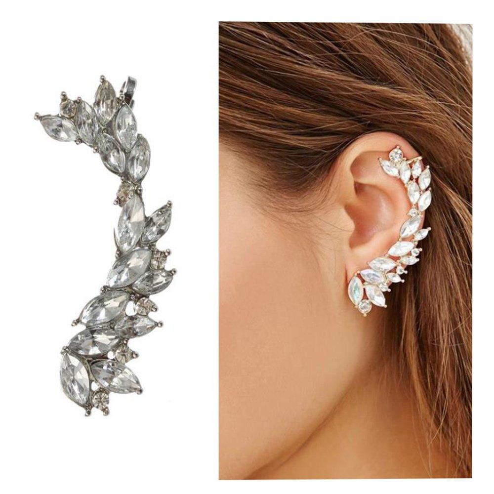Cute Crystals Cuff Earrings Hypoallergenic Stud Ear Climber Jacket for Women 1 PC Yiwu hezheng trading co. LTD. B07F5KKX97_US