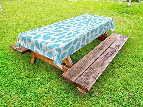 Ambesonne Leaves Outdoor Tablecloth, Monochromatic Lush Foliage Feminine Nature Pattern Spring Season Illustration, Decorative Washable Picnic Table Cloth, 58