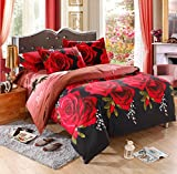 JessyHome 3D Printed 4-Piece Bedding Set Fullbloom Roses (Queen)