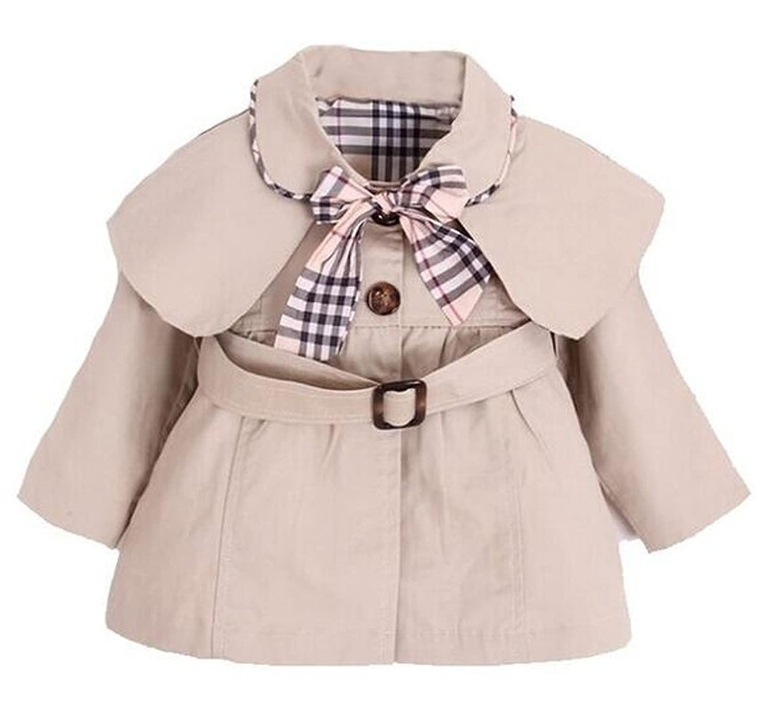 Arrowhunt Baby Girl s Princess Bowknot Cotton Trench Coat with Belt