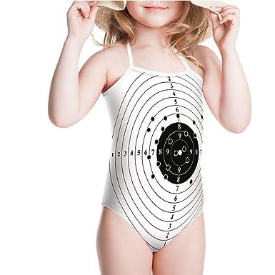 d7a56fa5a2 Amazon.com  iPrint Swimsuit for Girls Bullet Holes Shooting Polygon Gun  Training Swimwear  Clothing