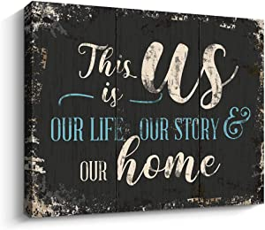 Retro Wall Art This Is Us Prints Signs Home Decor, 12 x 15 Inch Inspirational Family Canvas Wall Art Framed Artwork Decoration for Bedroom Living Room