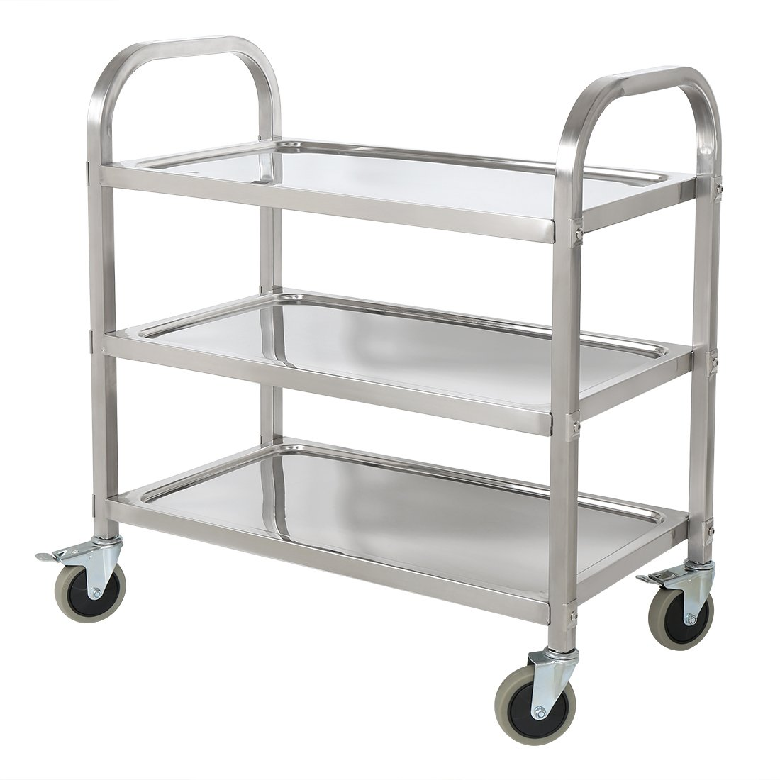 HLC Stainless Steel 3 Tier Kitchen Car Shelf Utility/Service Cart Kitchen Trolley Kitchen Cart with Wheels 75 x 40 x 83.5CM