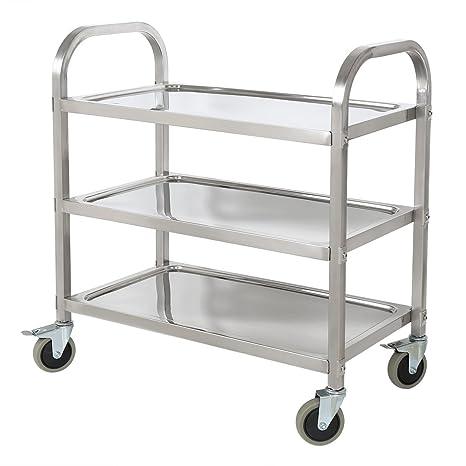 HLC Carro de Servicio con ruedas y tres bandejas para cocina, hotel, hospital y