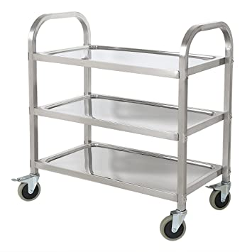 HLC Carro de Servicio con ruedas y tres bandejas para cocina, hotel, hospital y oficina, acero inoxidable(95*50*95cm), color plata, nuevo modelo!:
