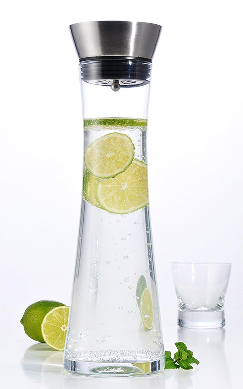 1 litro jarra de agua de vidrio con pico de acero inoxidable COM-FOUR/® Jarra de agua