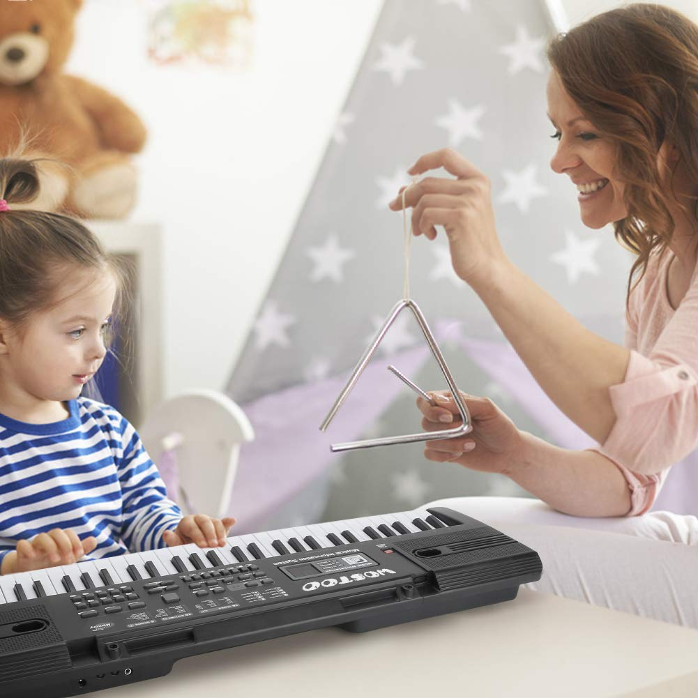 WOSTOO Piano for Kids, Multi-function Portable 61 Keys Electronic Music Piano Keyboard with Microphone Musical Instrument Teaching Toy For Girls Boy