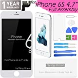 iPhone 6S Screen Replacement Full Assembly (White) + 3D Touch LCD Display Digitizer (4.7 Inch) with Facing Proximity Sensor, Ear Speaker, Front Camera, Repair Tools and Screen Protector