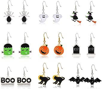 PHALIN Halloween Earrings Set, Spider Web Pumpkin Ghost Bat Drop Earring Studs for Women Girls Halloween Jewelry Set for Party